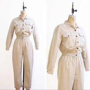 1990s beige coveralls / jumpsuit